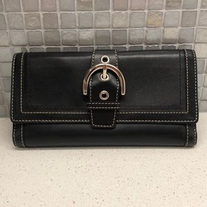 Coach Black Leather Wallet with Tan Interior